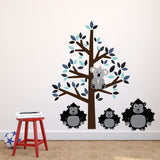 Blue Tree With Gorillas Wall Decal