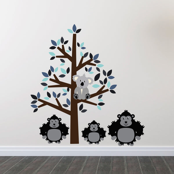 Blue Tree With Gorillas Wall Sticker