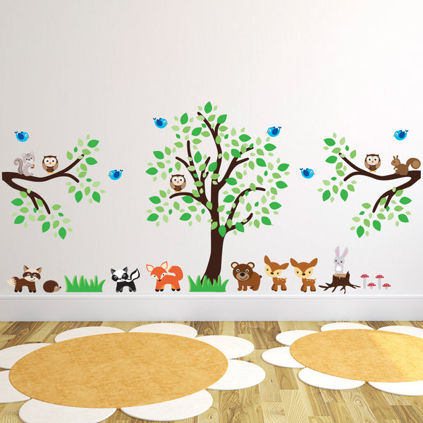Nursery Forest Tree, Branches and Animals Wall Sticker