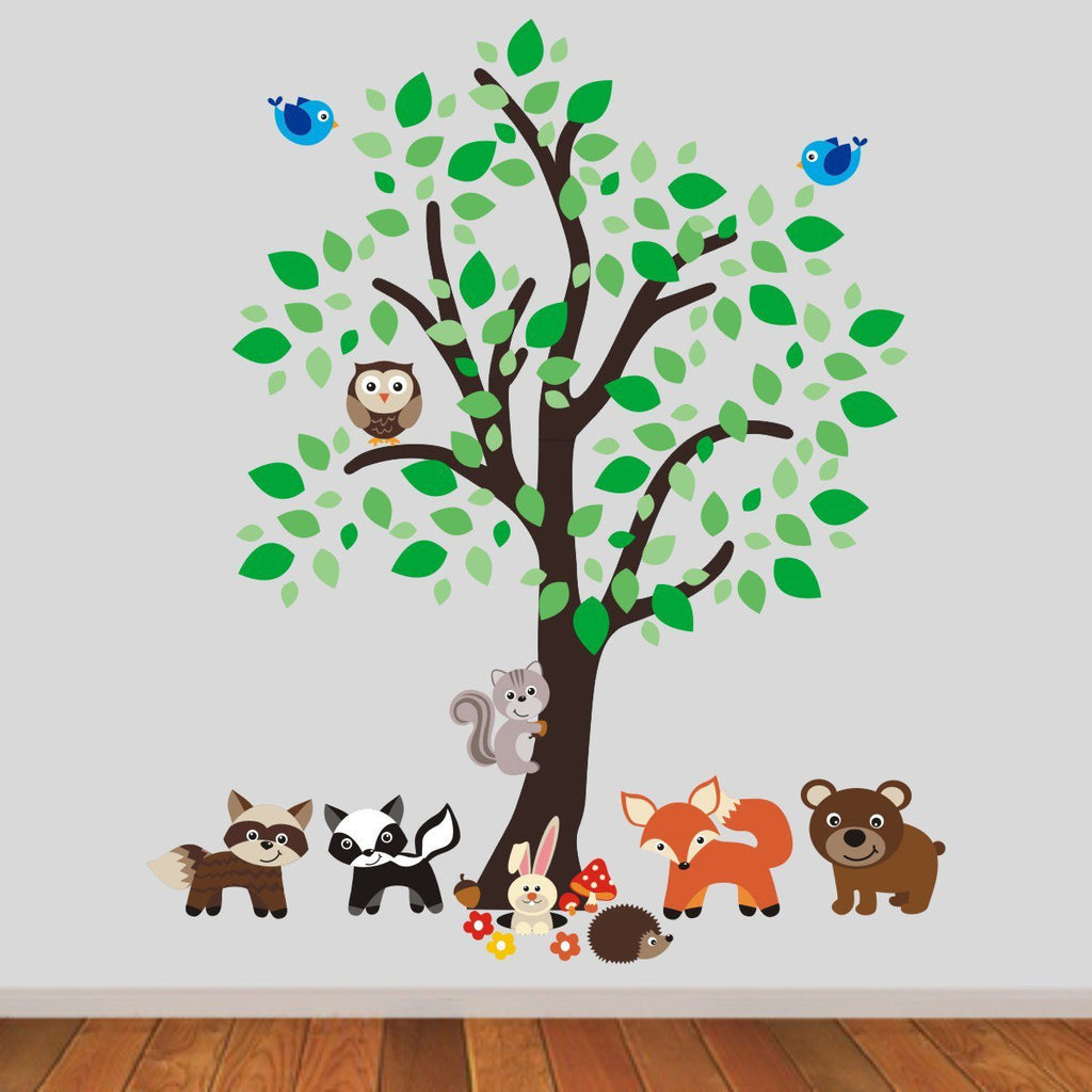 Nursery Tree With Woodland Animals Wall Sticker Part 72
