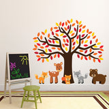 Orange Tree With Woodland Animals Wall Art
