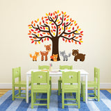 Orange Tree With Woodland Animals Wall Decal