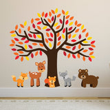 Orange Tree With Woodland Animals Wall Sticker