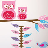 Owls, Birds and Flowers Height Chart Wall Decal