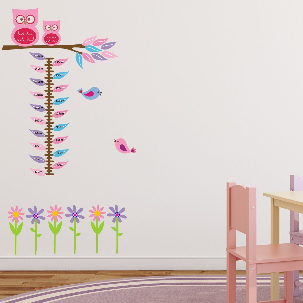 Owls, Birds and Flowers Height Chart Wall Sticker