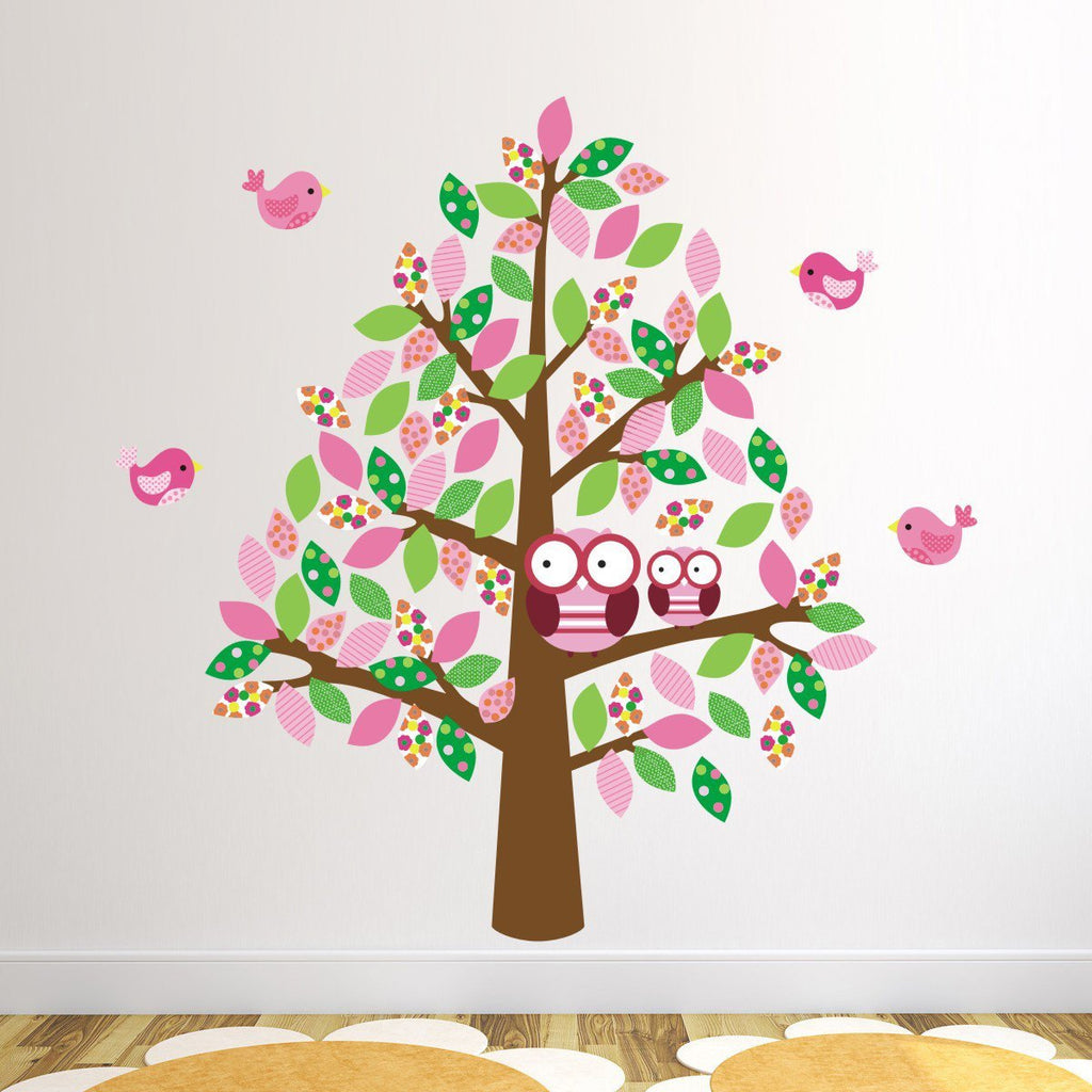 Patterned Tree With Owls and Birds Wall Sticker