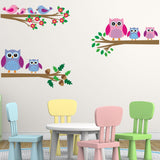 Owl and Birds On Branches Wall Decals