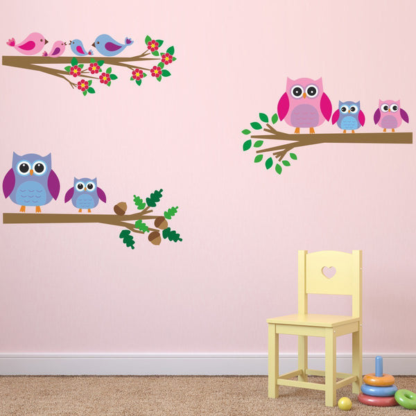 Owl and Birds On Branches Wall Sticker