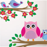 Owl and Birds On Branches Wall Transfers