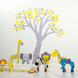 Pastel Tree With Jungle Animals Wall Art