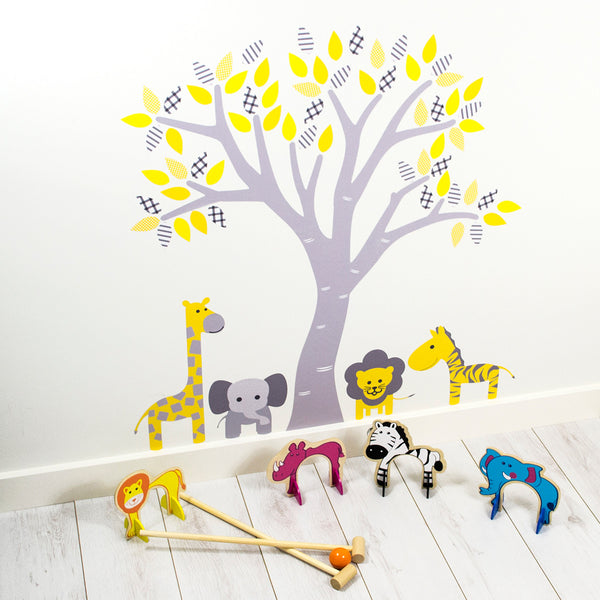 Pastel Tree With Jungle Animals Wall Sticker