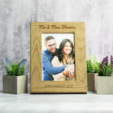 Personalised Wedding or Anniversary Photo Frame Oak