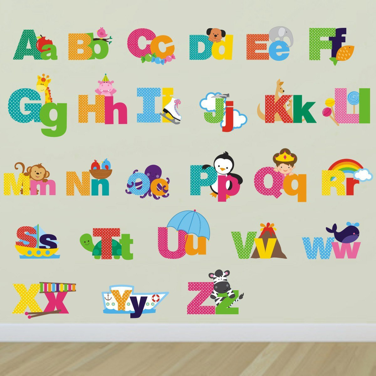 Picture Alphabet Wall Stickers