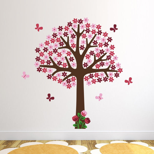 Pink Flower Tree With Butterflies Wall Decal