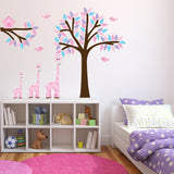 Pink Giraffes With Tree and Branch Wall Decal