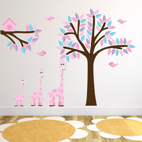 Pink Giraffes With Tree and Branch Wall Sticker
