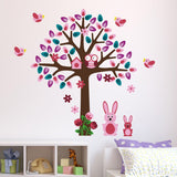 Pink Tree With Bunny Rabbit Wall Art