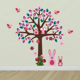 Pink Tree With Bunny Rabbit Wall Decals