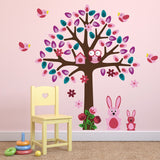 Pink Tree With Bunny Rabbit Wall Stickers