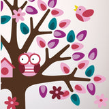 Pink Tree With Bunny Rabbit Wall Transfers
