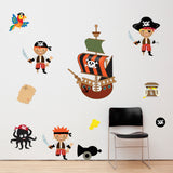 Pirates With Ship and Treasure Wall Art