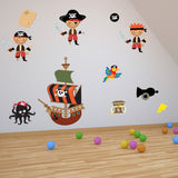 Pirates With Ship and Treasure Wall Decal