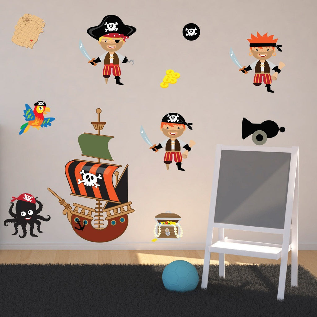 Pirates With Ship and Treasure Wall Sticker