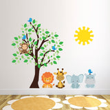Safari Animals With Tree and Sun Wall Art