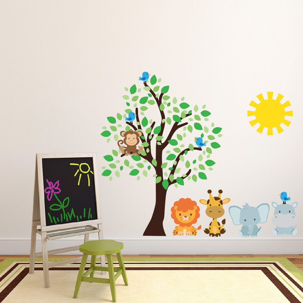 Safari Animals With Tree and Sun Wall Sticker