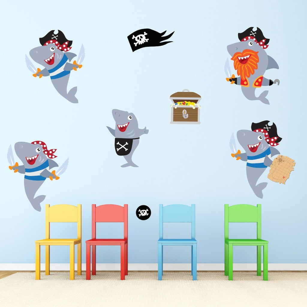 Shark Pirate Wall Stickers Mirrorin