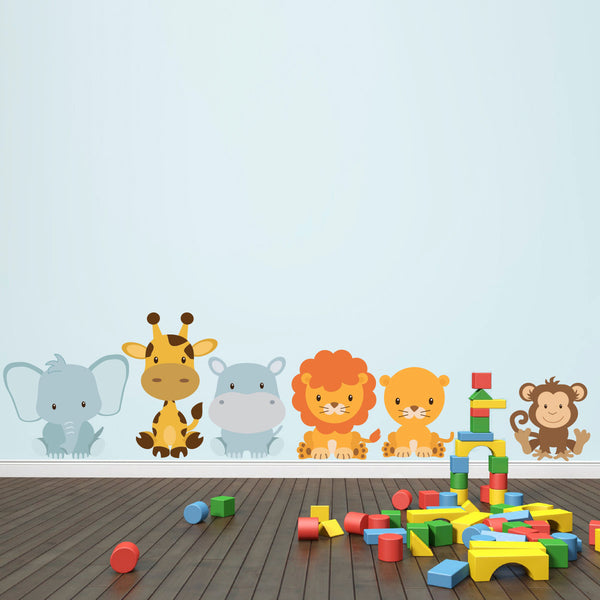 Sitting Safari Animal Wall Stickers Pack
