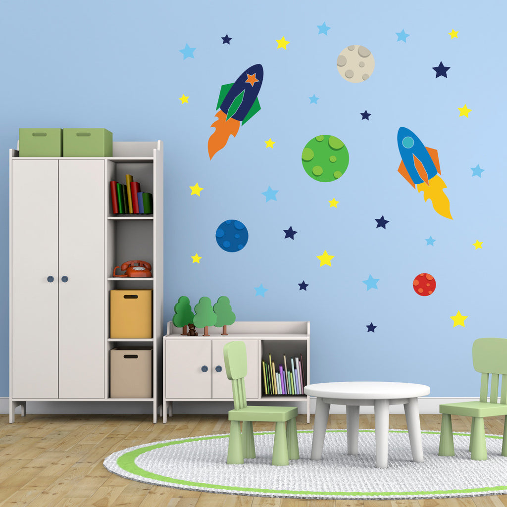 Space Rockets, Planets and Stars Wall Stickers