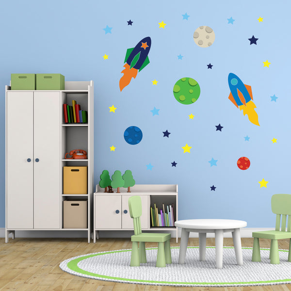 Space Rockets Planets And Stars Wall Stickers