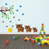Three Bears With Branch Wall Decal