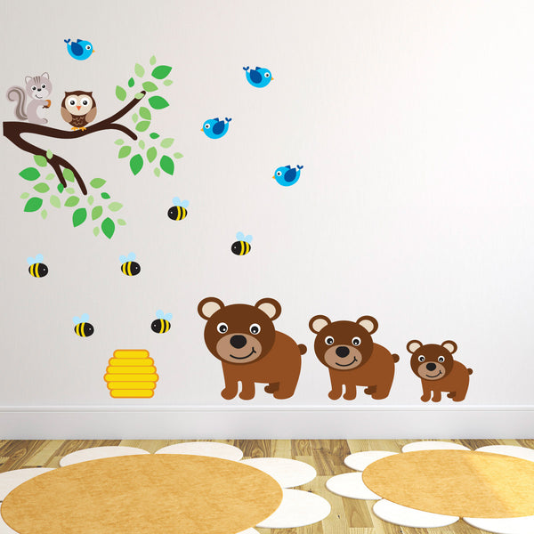 Three Bears With Branch Wall Sticker