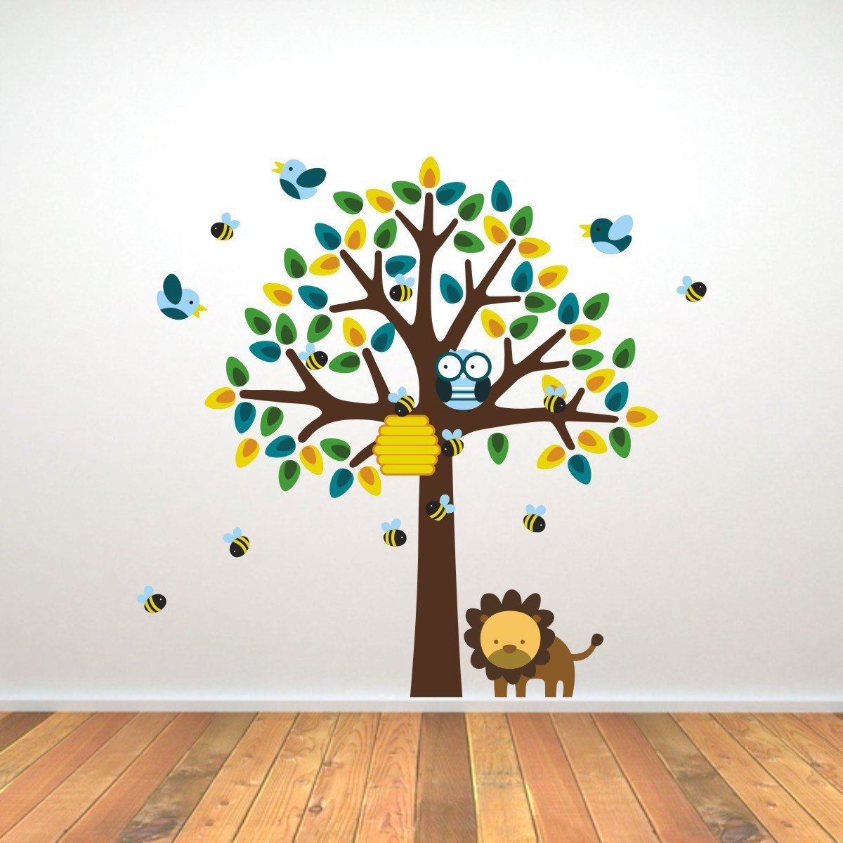 Tree With Bees, Birds and Lion Wall Sticker