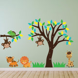 Tree and Branch With Jungle Animals Wall Art