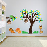 Tree and Branch With Jungle Animals Wall Decal