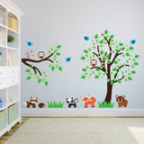 Tree and Branch With Woodland Animals Wall Decal