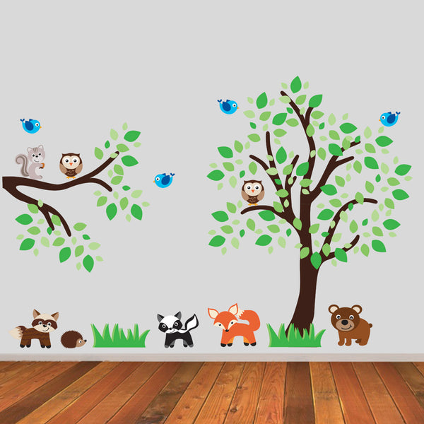 Tree and Branch With Woodland Animals Wall Sticker