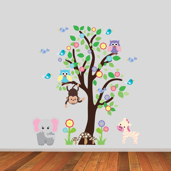 Tree With Elephant and Zebra Wall Sticker