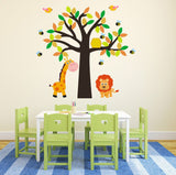 Tree With Giraffe, Lion, Birds and Bees Wall Art
