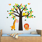 Tree With Giraffe, Lion, Birds and Bees Wall Decal
