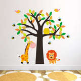 Tree With Giraffe, Lion, Birds and Bees Wall Sticker