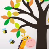 Tree With Giraffe, Lion, Birds and Bees Wall Transfer