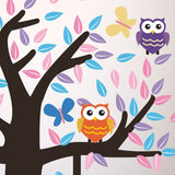 Tree With Owls and Butterflies Wall Art Sticker