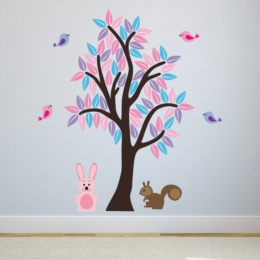 Tree With Rabbit, Squirrel and Birds Wall Sticker