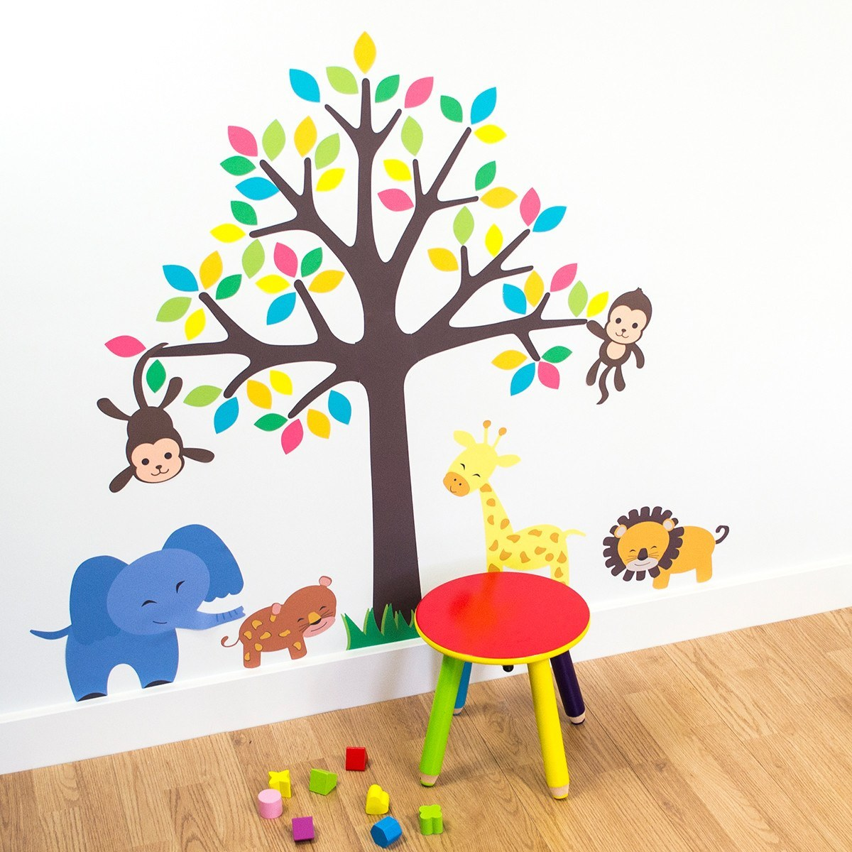 Tree With Safari Animals Wall Stickers