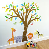 Tree With Safari Animals Wall Art