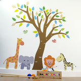 Tree With Safari Animals Wall Decal